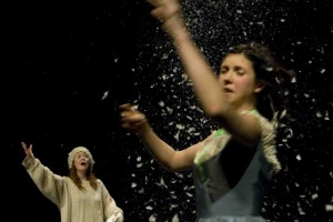 Caroline Horton and Hannah Boyde in Mess, feathers flying everywhere